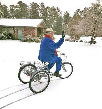 Dorothy Wedincamp snow bike