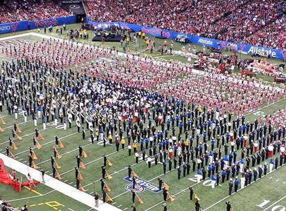 1 Blue Tide band performs at half with several other high schools and OU Sooner band in front