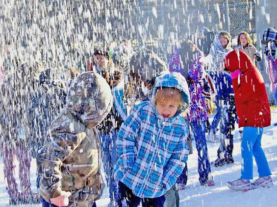 2-Many of the kids had never seen snow or a blizzard before.