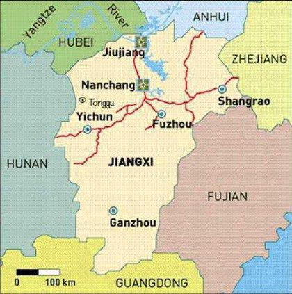 China trip map - Yichun China 1