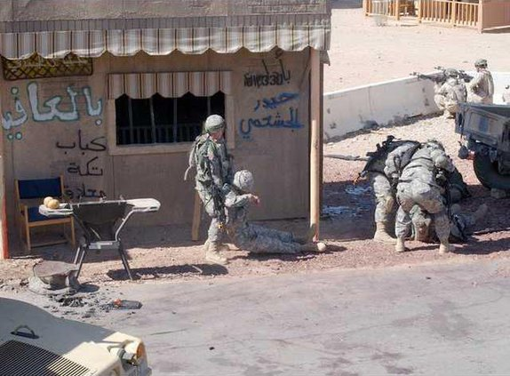 NTC village drag wounded