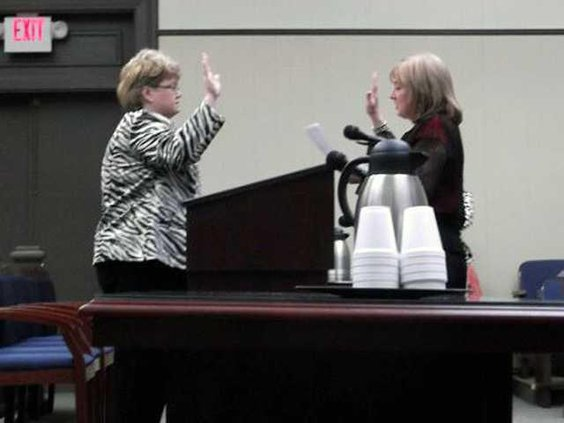 Sherry Long being sworn in pic 1