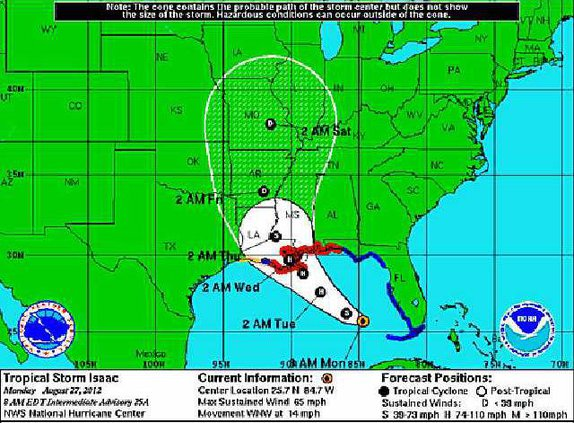 TS Isaac Monday morning