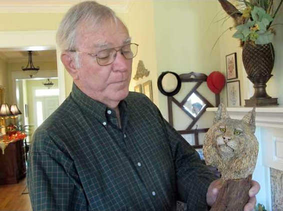 Browing with bobcat carving