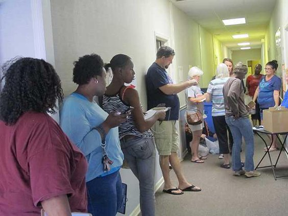 Line at United Way for relief items