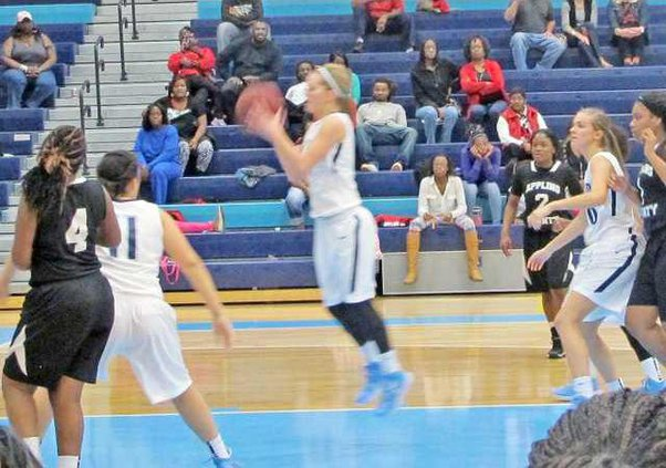 Katie Estill puts up 2 of her 23 pts against Appling  Co
