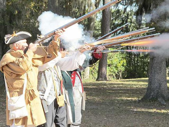 colonial soldiers firing