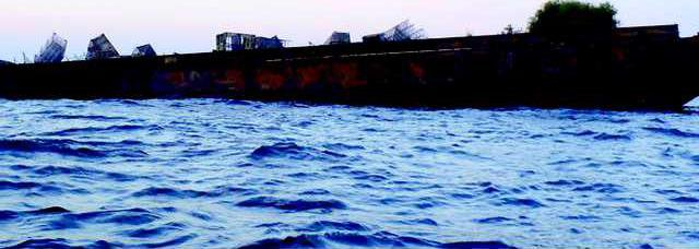 Stern of barge begins to sink at Artificial Reef KC - 9 nautical miles East of Wassaw Island 1