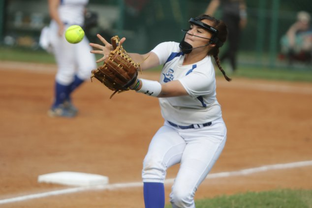 pitcher catching softball